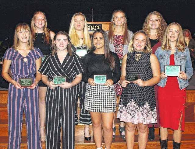 The Frontier Athletic Conference on Nov. 21, 2019 honored the best tennis players as First Team, All-FAC at the Fall Sports Banquet. (front, at left, l-r); Brooklyn Foose and Payton Maddux of Washington; (front, fourth from left) Cameron Bucher, Miami Trace; (at far right, front), Abbey Sims-Clark, Chillicothe, Player of the Year; (back, at left), Sydnie Hall, Washington; (back, third from left), Anita Pursell, Miami Trace. Other First Team, All-FAC players (not in order), Natalie Drotleff, Chillicothe; Mackenzie Humphreys and Lillian Houser, Jackson.