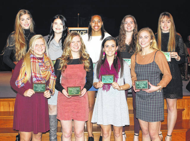 The Frontier Athletic Conference honored the top volleyball players at the Fall Sports Banquet on Nov. 21. The above student-athletes are First Team, All-FAC in volleyball for 2019. (front, second from left); Halli Wall, Washington; (front, at far right); Olivia Fliehman, Miami Trace; (back, middle); Rayana Burns, Washington. Also pictured, not in order: Sophia Fulkerson, Chillicothe, Player of the Year; Payton McBee and Stephanie Hirsch, Chillicothe; Jaelyn Pitzer (front row, at left), McClain; Abbey Munn and Holly Sexton, Jackson. Not pictured: Laura Robinson, Miami Trace.
