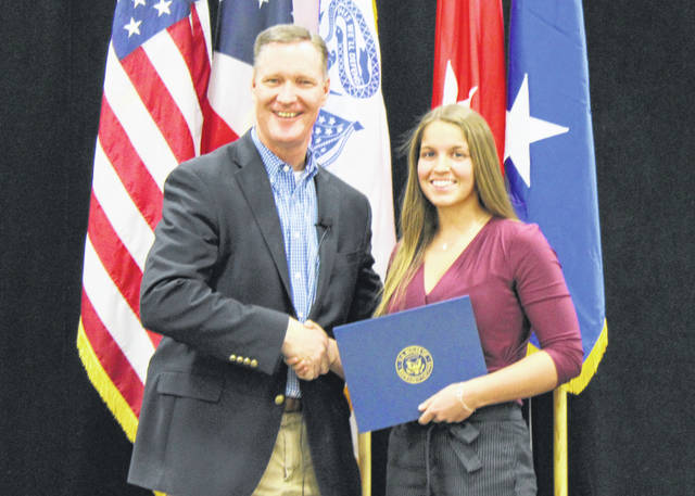 Rep. Steve Stivers and Miami Trace High School student Kylie Pettit.