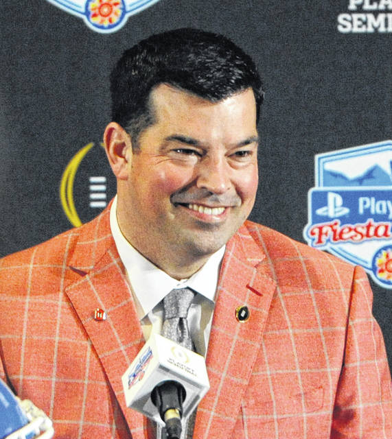 Ohio State head coach Ryan Day speaks to the media at a Fiesta Bowl press conference Friday, Dec. 27, 2019 in Scottsdale, Arizona.