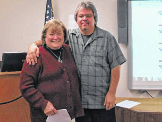 Fayette County Genealogical Society President Sue Gilmore with Ohio Genealogical Society Trustee Russ Pollitt.