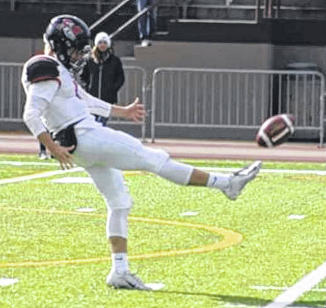 Muskingum's Jarett Patton punts during a game this year. Patton was recently named All-OAC for the 2019 season, his third as a Muskie.