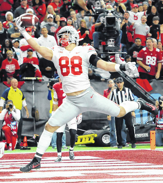 Ohio State sophomore tight end Jeremy Ruckert snags a 16-yard touchdown pass to start Ohio State's second half comeback in the Big Ten Championship game against Wisconsin Saturday, Dec. 7, 2019.