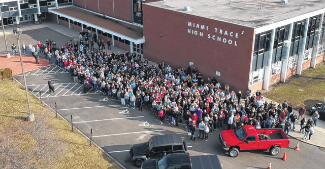 This Record-Herald file photo shows the Miami Trace High School student body on the final day of school at the old school in February. Students started class at the new school on Wednesday, Feb. 20.