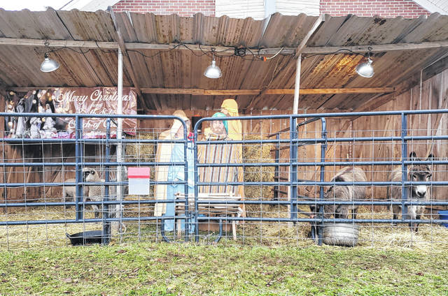South Side Church of Christ once again has a nativity scene set up for the season where families can come and view both donkeys and sheep. The scene is set up against the side of the church at 921 S. Fayette St. in Washington Court House.
