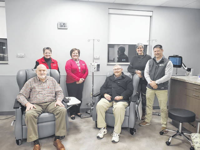 Gary Butts, Norma Kirby, Whitney Gentry, Ron Ratliff, Shannon Jacobs, and Ty Kelley try out some of the infusion chairs purchased by the FCMH Foundation.
