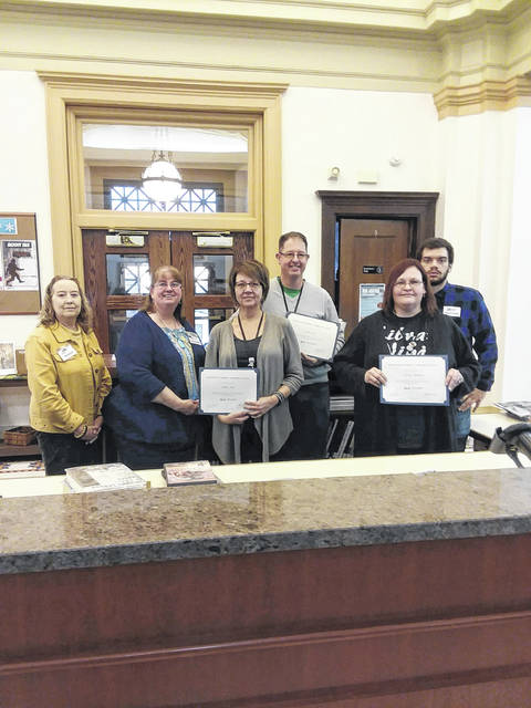 Carnegie Public Library staff members who received certification, from left to right: Susan Davis, Belinda Michael, Jodi Noel, Aaron Teeter, Dawn Roberts, and Nathan Forsha. Not pictured: Kelley Blair, Noel Dittmar Lesniak, Kay Oughterson, and Bonnie Rinehart.