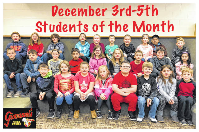 The third through fifth grade students of the month were (L to R): front row: Elliott Hatton, Baylee Mootispaw, Mackenzi Ellis, Brailee Treadway, Carson Stewart, Anthony Keller, Kaylie Sheets and Mason Carper. Middle row: Reed Miller, Sylar Lyons, Myah Dato, Malachi Cumberland, Annabel Teter, Keira Leach, Wyatt Redding, Keegan Houser and Bianca Valazquez. Back row: Tressel Gilpen, Peyton Pitzer, Huck Jacobs, Macy Lewis, Bella Roshto, Christopher Reed, Zane Carner, Alison Reeves, Irvin Juarez-Ramirez and Cam Thoromon. Not pictured: Katelyn Sturgell, Landon Robinson, Jaxon Hartley and Bently West.
