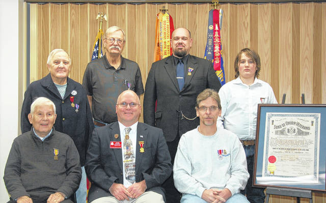 Henry Casey Camp 92 Sons of Union Veterans of the Civil War recently elected and installed officers for the year 2020. The installing officer was Ohio Department Commander Shane L. Milburn who is a past commander of the Casey Camp. Pictured in the back row are (left to right) Terry Thevenin, retiring camp commander; Joe Daugherty, Commander; David Meister, senior vice commander; Judah Meister, Guide. In the front row are three camp members who have served as Ohio Department Commander. Left to right: Robert E. Grim, Treasurer; Shane Milburn, Secretary; and Shawn A. Cox Patriotic Instructor.