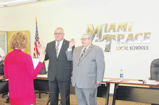 Miami Trace Treasurer/CFO Debbie Black administered the oath of office for Andrews and Kirkpatrick who ran unopposed in November.