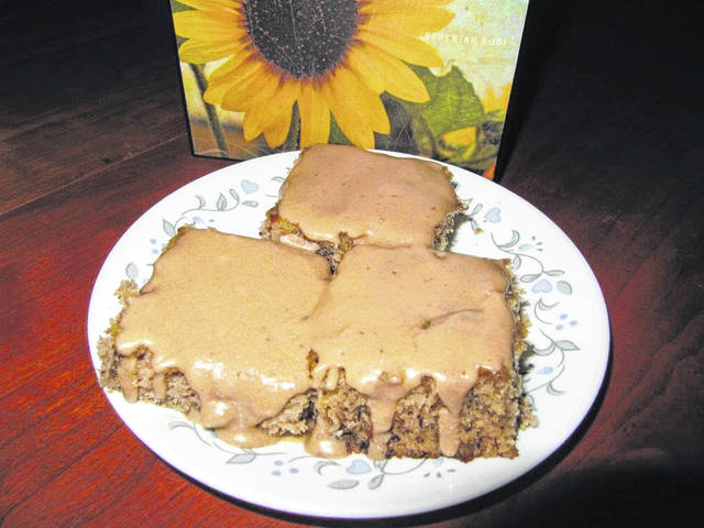 Homemade banana bars with caramel frosting.