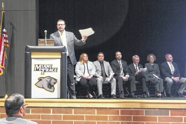 Miami Trace Superintendent David Lewis was one of many presenting on Monday at the Miami Trace High School State of the District event where administrators had the chance to update the community and stakeholders on how the district is progressing.