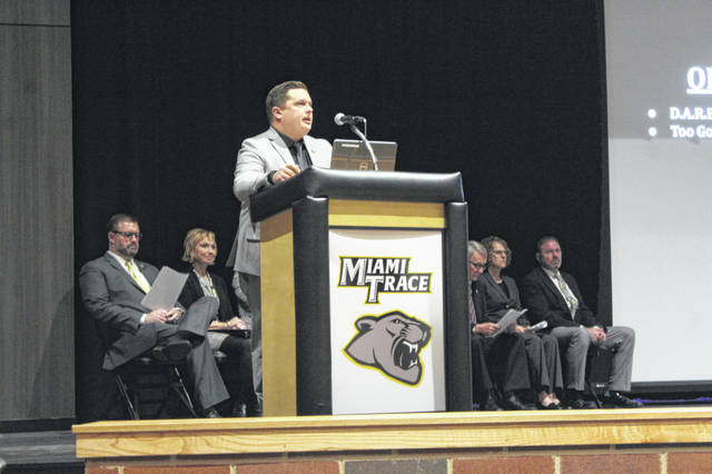 Miami Trace Elementary School Principal Ryan Davis was one of three principals who talked on Monday evening at Miami Trace High School for the State of the District event.
