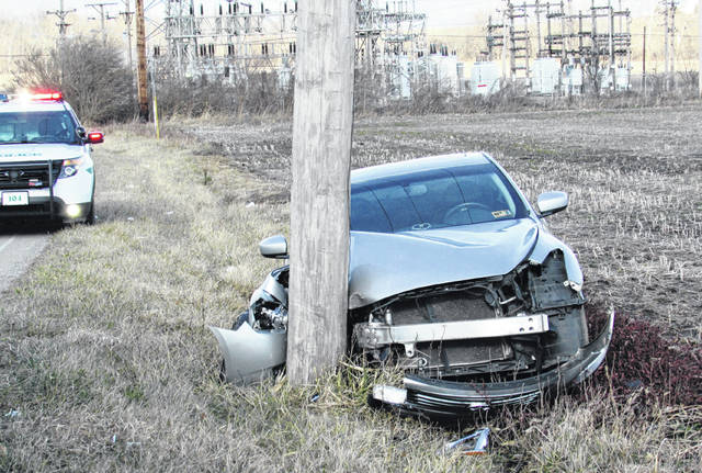 The village of Greenfield and surrounding areas experienced a power outage when an Infinity driven by Todd Flowers of Greenfield swerved to miss a dog in the roadway and hit a DP&L utility pole Monday afternoon.