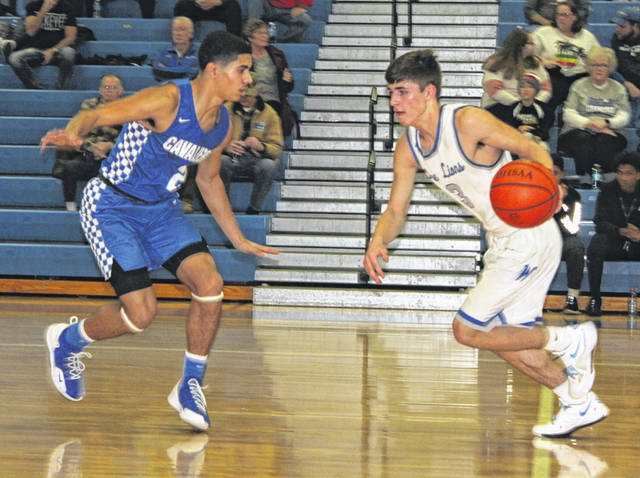 Washington sophomore Karson Runk, right, brings the ball up the court, guarded by Chillicothe junior Kam Smith, during a Frontier Athletic Conference game at Washington High School Friday, Jan. 24, 2020.