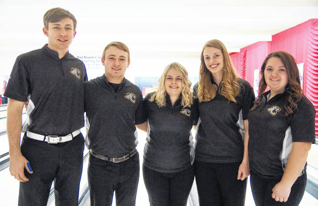 Miami Trace High School senior bowlers were recognized on Wednesday, Jan. 29, 2020 at LeElla Lanes. (l-r); Andrew Amore, Jay Caudill, Hannah Miller, Adelyn Hoppes and Haley Davis.