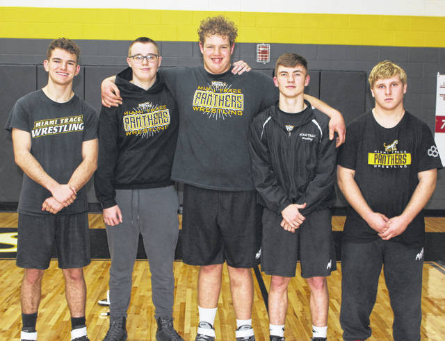 Miami Trace recognized its five wrestling seniors prior to the match against the McClain Tigers Thursday, Jan. 16, 2020. (l-r); Dawson Wallace, Zach Tinkler, Grant DeBruin, Storm Duffy and David Sheets.
