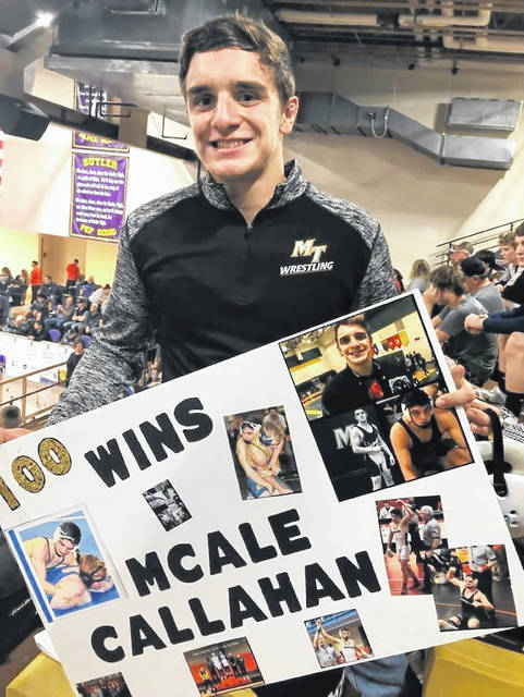 Mcale Callahan won his 100th career match at the GMVWA tournament that was held Dec. 27 and 28, 2019. He placed third in the tournament at 152 pounds.