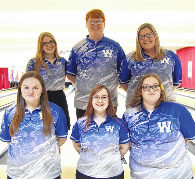 Washington High School senior bowlers were recognized prior to the match on Wednesday, Jan. 29, 2020 at LeElla Lanes. (front, l-r); Maitlyn Cave, Madison Newman, Caitlyn Booth; (back, l-r); Lindsey Buckner, Kylan Rowland and Ali Reeves.