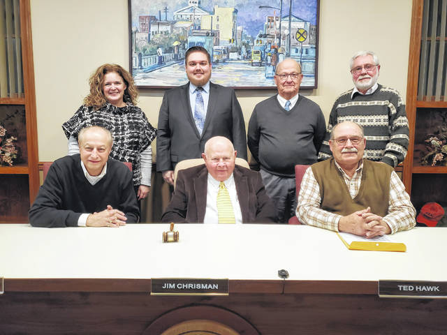 The city council members of Washington Court House as of January 2020 are (L-R, back) Kendra Redd-Hernandez, Caleb Johnson, Vice Chairperson Dale Lynch, and Jim Blair as well as (L-R, front) Steve Shiltz, Chairperson Jim Chrisman, and Ted Hawk.