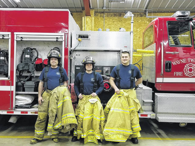 Several firefighters recently completed Firefighter One Certification including Wayne Township Fire Rescue's newest three members (L-R) Jimmy Wysong, Karl Manor and Miguel Penwell.