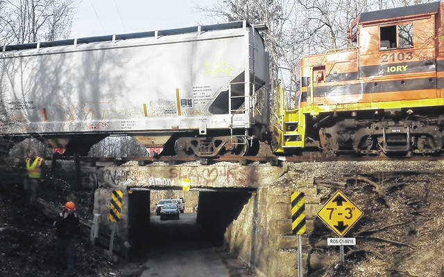 A train car was detrailed near the Thrifton Road bridge on Thursday, the village of Greenfield announced. Greenfield City Manager Todd Wilkin said the derailment was not due to the structural integrity of the bridge.