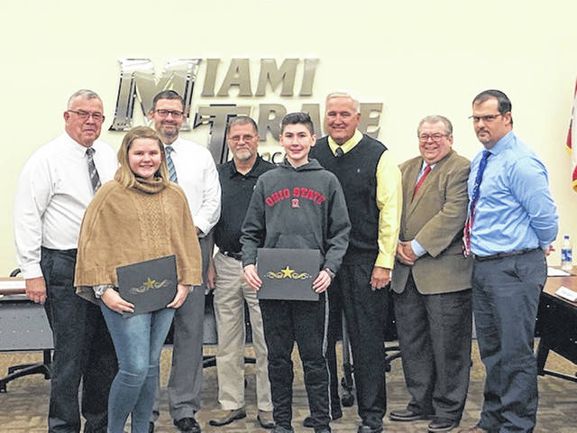 The Miami Trace Board of Education honored the winner and runner-up of the 45th-annual Miami Trace Middle School spelling bee on Monday. The first place winner was Robbie Bennett and the runner-up was Adrienne Jacobson.