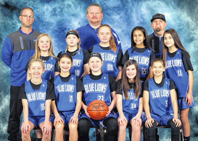 The Little Lady Lions 6th grade team has won the Tri County Basketball League three years in a row. The team went undefeated this season. Over the last three years, the team has compiled a record of 33-2. (front, l-r); Megan Mongold, Leah Marine, Karris Dye, Maggie Pfeifer, Calee Ellars; (middle, l-r); Alora Self, Ellie Racine, Jenna Reitmire, Mariah Cockerill, MacKayla Cartmell (back, l-r); coaches Corey Dye, Jason Mongold and Brandan Ellars.