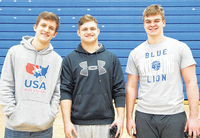 Washington Blue Lion senior wrestlers were recognized prior to a Frontier Athletic Conference dual match with Hillsboro, Thursday, Feb. 13, 2020. (l-r); Kalub Wilkerson, Chase Sluder and Collier Brown.