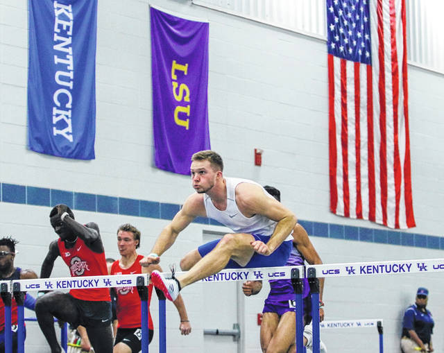 Caleb Wilt clears a hurdle during the Jim Green Invitational at the Kentucky-Nutter Field House in Lexington, Ky. The invitational was held Jan. 10 and 11, 2020. Wilt placed second in the finals with a personal best time of 7.82 seconds.