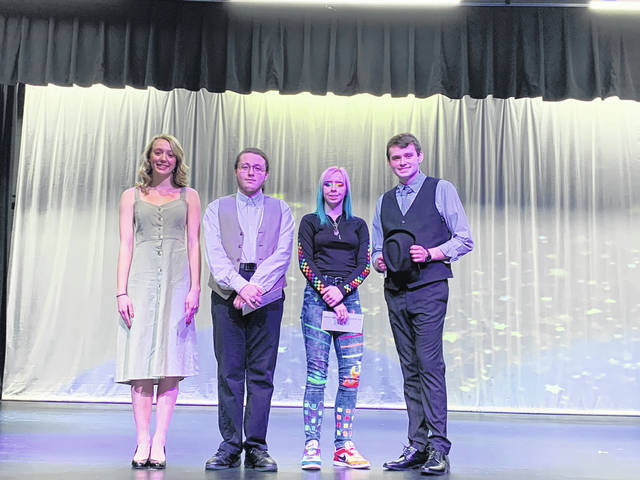 The top four placers at the 53rd-annual Teen Talent Show, held Sunday at Miami Trace High School, were from left to right: Isabella Racine, first place; Hunter Houser, second place; Saizia Derreberry, third place; and Brian Everhart, fourth place, who also won the fan favorite award.