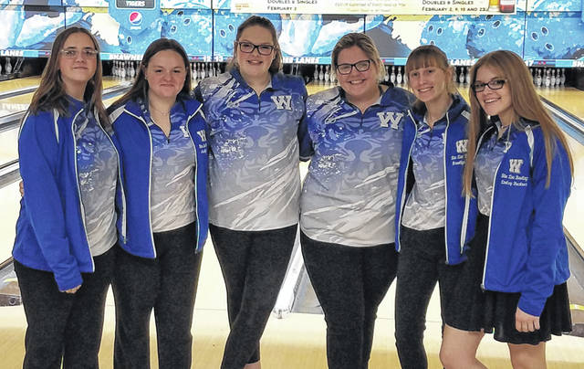 The Washington Lady Lion bowling team won the Division II Sectional held at Shawnee Lanes in Chillicothe Thursday, Feb. 13, 2020. (l-r); Jessika Young, Maitlyn Cave, Hanna Yoho, Ali Reeves, Brooklyn Foose and Lindsey Buckner.