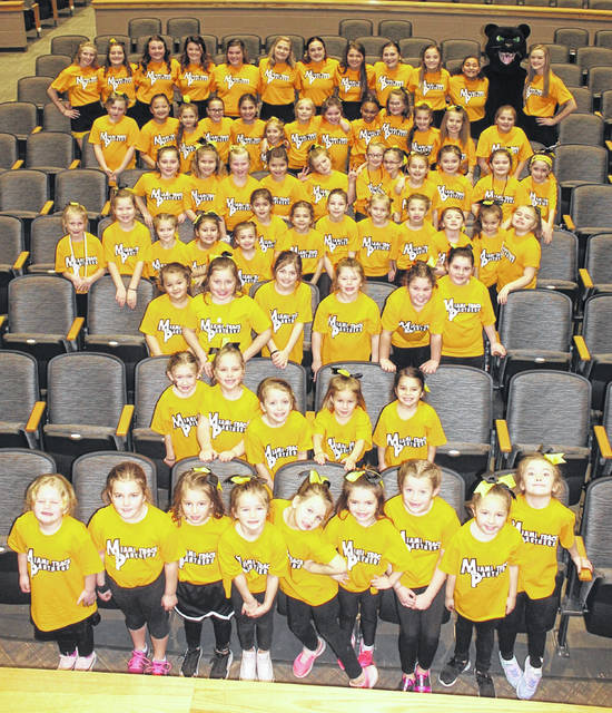 Over 80 youngsters took part in the recent Miami Trace Kiddie Cheer Camp. The kids gathered in the high school auditorium prior to going out to the gym to cheer for the Panthers in their game against McClain Friday, Feb. 7, 2020. The youth are in grades K-5 at Miami Trace.