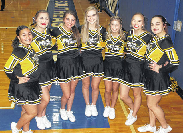 Miami Trace High School varsity basketball cheerleaders are pictured at the Panthers' Sectional game against Logan Elm Wednesday, Feb. 19, 2020 at Southeastern High School. (l-r); Megan Manns, Kaitlyn Ellsworth, Jocee Parrish, Saylor Moore, Alexis Gardner, Hayley Binegar, and Madison Southward. Not pictured: Ali Cusic.