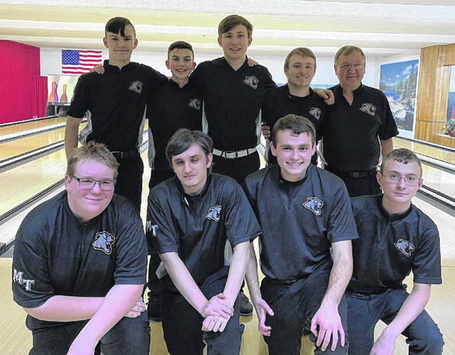 The Miami Trace Panthers boys bowling team won the Frontier Athletic Conference title Wednesday, Feb. 12, 2020. The tournament was held at LeElla Lanes. (front, l-r); Brendan Major, James Kysor, Brian Everhart, Chris Evans; (back, l-r); Jaydan Brown, Connor Collins, Andrew Amore, Jay Caudill and head coach Ron Amore Sr.