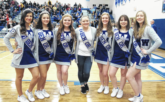 Washington High School's senior cheerleaders were recognized prior to the game against Miami Trace Saturday, Feb. 8, 2020. (l-r); Kayla Welling, Sydney Shadburn, Brooklynn Stanley, mascot Brandelyn Jenkins, Brooklyn Reeves, Britnie Kirkendall, and Emilee Anschutz.