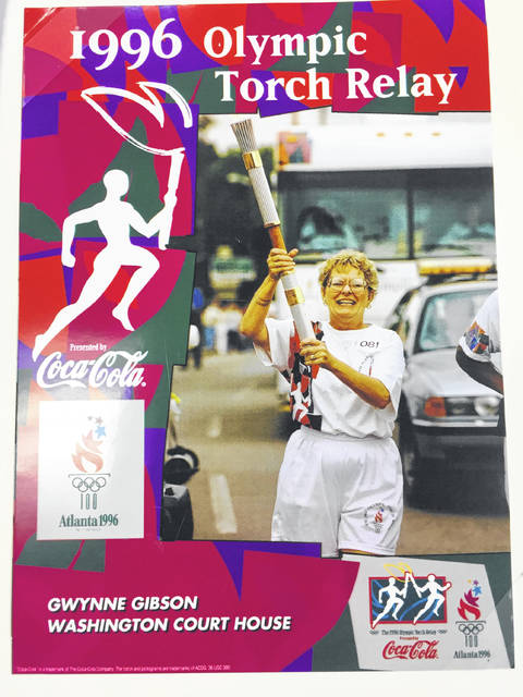 Pictured is Gwynne Gibson with her Olympic Torch in the official 1996 photo and her with the torch today.