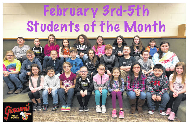 The third through fifth grade students of the month were (L to R): front row: Cori Elliot, Mason Haslett, Desiree Johnson, Casey Cottrill, Nevaeh Day, Kiree Parker, Khloe Willett, Brayan Vazquez Rodriguez and Aubrey Connell. Middle row: Jocie Wilt, Landon Yeazel, Allie Knecht, Anthony Stenger, Zoey Penrod, Lucas Eldredge, Landon Sears, Grayson Harrison and Lindsey Lightle. Back row: Jadn Jackson, Allison Carter, Janelle Capehart, Kaylin Myers, Dashua Daniels, Mattisyn May, Ava Culwell, Aubrey Kinzer and Tyler Moore. Not pictured: Lillian Bush, Sydney Forsha, Brooklynn Bennett, Emma Karnes, Adrianna Glass and Paisley Thompson.