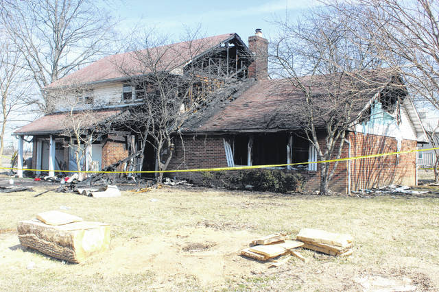 The house at 1066 Spring Lake Avenue in Washington Court House suffered extensive damage from a fire overnight Wednesday where one dog perished and no injuries of people were reported. Crews worked quickly to keep the structure from collapsing.