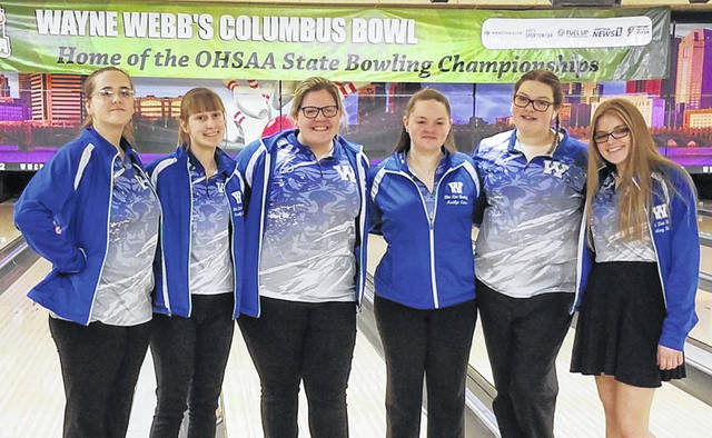 The Washington Lady Lion bowling team is pictured at the Division II State tournament Saturday, Feb. 29, 2020. (l-r); Jessika Young, Brooklyn Foose, Ali Reeves, Maitlyn Cave, Hanna Yoho and Lindsey Buckner.