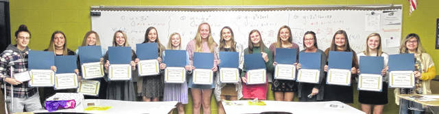 A postseason banquet for the Miami Trace Lady Panthers basketball program was held recently. Above are the award recipeients. (l-r); Shay McDonald, Gracee Stewart, Addy Little, Aubrey McCoy, Gracey Ferguson, Hillary McCoy, Lilly Workman, Hillery Jacobs, Delaney Eakins, Libby Aleshire, Sidney Payton, Kate Hicks, Mallory Lovett, Mallory Pavey. Not pictured: Audrey Craig, Emma Pitstick and Magarah Bloom.