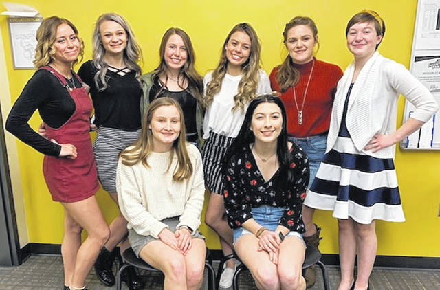 Seniors gather at the banquet for the Miami Trace gymnastics team. (front, l-r); Devan Thomas and Grace Rolfe; (back, l-r); Lizzy Valentine (Greeneview) McKinley Kelley, Averey Cockerill, Milana Macioce, Kandice Mathews and Abby Rose (Washington).