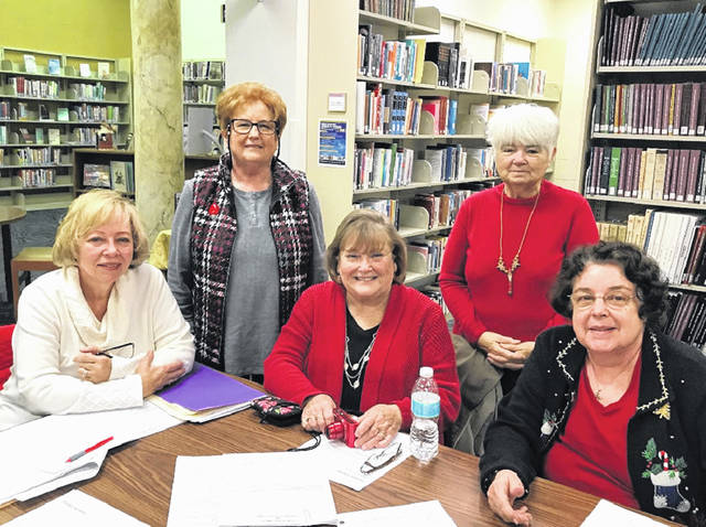 Those attending the Fayette County Genealogical Society Lineage Workshop Dec. 14 were from left to right, Seneth Rankin, Lineage Chair Cathy Massie White, Lineage Committee Members Sue Gilmore and Peggy Lester, and Kitturah Westenhouser.