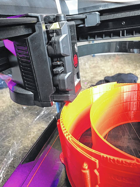 Miami Trace Local Schools began to 3-D print headbands for face masks this week to donate and help during the COVID-19 pandemic.