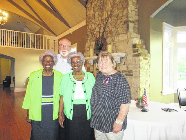 First Families, Century Families, and Civil War Families inductees for May 2019, left to right are Maybelle Jones, Ken Arnold, Clarabelle Jones Yelletts with FCGS President Sue Gilmore.