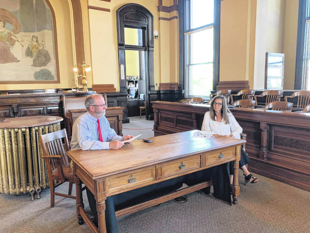Fayette County Common Pleas Court Judge Steven Beathard and court administrator Carmen Baird discuss precautions the court is taking during the COVID-19 pandemic. The court has remained open throughout.