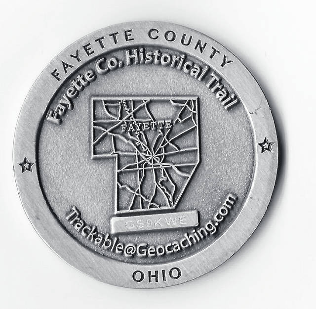 If someone were to locate and record all 13 geocaches that are part of the Fayette County Historical Society History Trail, they will have the opportunity to collect a commemorative coin.