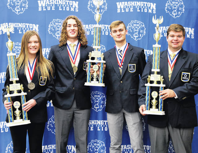 Local Great Oaks Washington High School DECA students (L to R) Halli Wall, the team of Brock Morris and Eli Lynch, and Trevor Minyo were all named state winners by Ohio DECA recently.