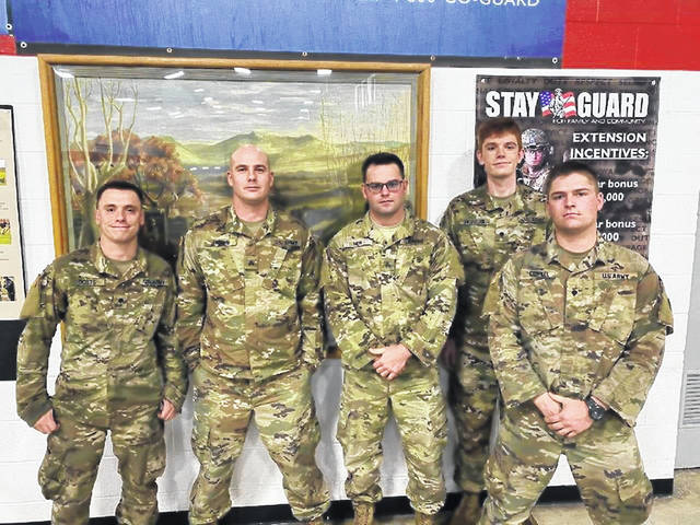 Pictured (left to right) are members of the 107th Cavalry Regiment, Ohio Army National Guard: SPC Dotts, SGT Bryan, SGT Hoops, SPC Horejsi and SPC Conkel.