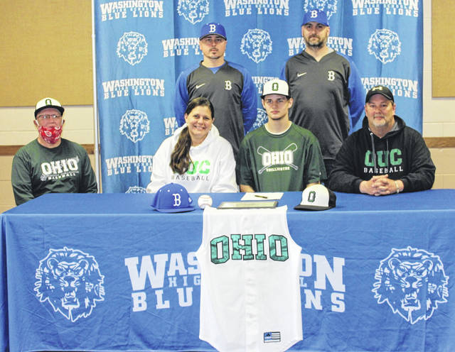 Washington High School member of the Class of 2020, Zane Joseph, signed a letter of intent on May 15 to attend Ohio University-Chillicothe, where he will continue with his education and his baseball career. Joseph is joined by his parents, Katy and Brett and at left, Bret Mavis, head coach of the OU-C baseball team. In back, (l-r) are Washington High School assistant baseball coach Brandon Runk and head coach Mark Schwartz.